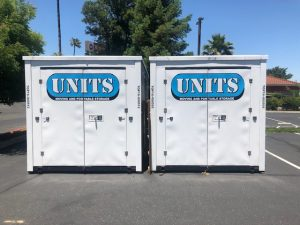 two portable storage units for commercial use